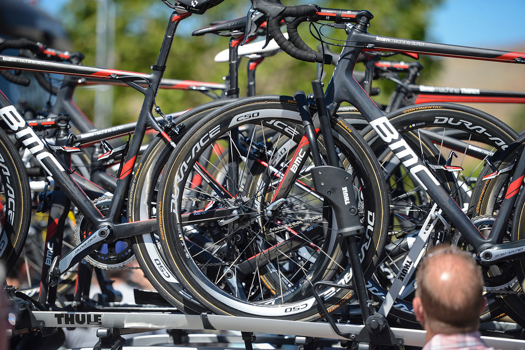 . Team BMC bikes loaded up for the start of Stage 3 of the Amgen Tour of California.  Stage 3 winds from Palmdale to Santa Clarita.    Photo by David Crane/Staff Photographer