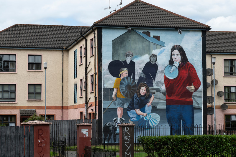 Painting of Bernadette Devlin an Irish civil rights leader and former politician on building, Free Derry, Londonderry, Northern Ireland, United Kingdom