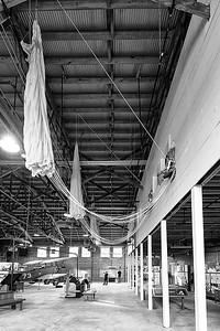 Moton Field, Hanger #1, parchutes hanging from ceiling, photo by NSL Photography