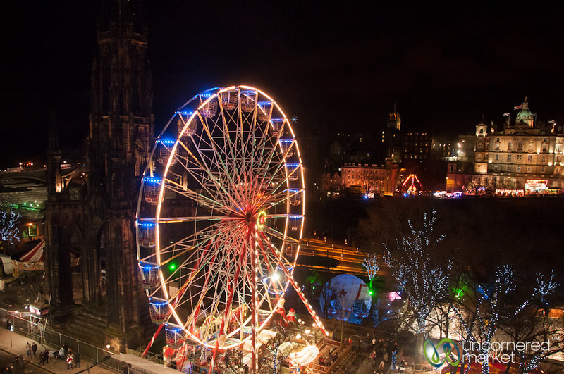Edinburgh Lit Up at Night for Hogmanay