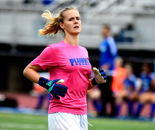 9/11/2018 Mike Orazzi | Staff Plainville's Caitlyn Barker (30) during Tuesday's soccer at Plainville High School.