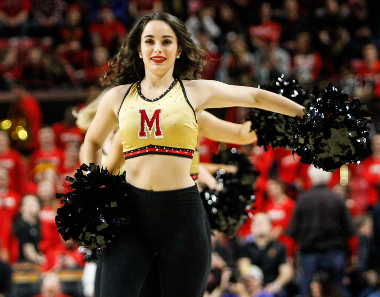 January 20, 2018: Maryland dancer performs a routine during BIG Ten Men Basketball action between University of Wisconsin and University of Maryland in College Park. Photo by: Chris Thompkins/Prince Georges Sentinel