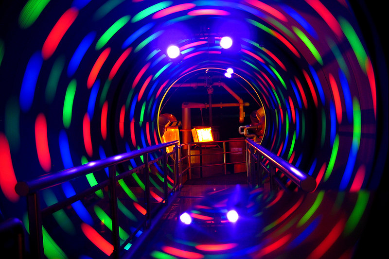 We traversed this swirly tunnel in the M&M store to get to the free M&M movie