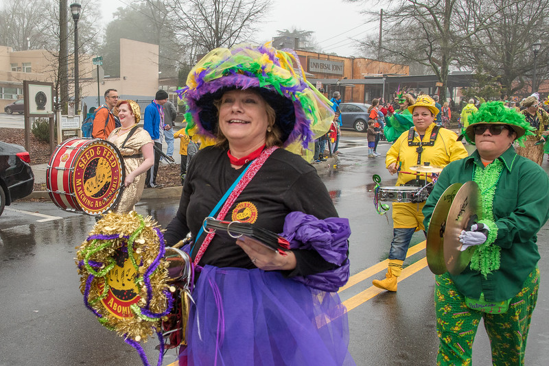 Mary Agar-Jones is one of the lead showgirls for the Seed and Feed Marching Abominable Band at the 2018 MRMG parade