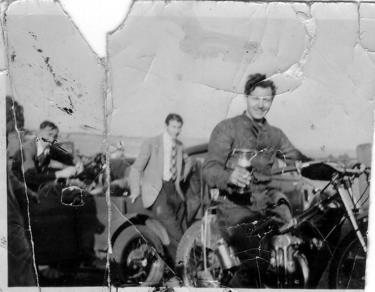 Bingley Cree, 1949 with cup and old friends Bill Ripper and brother looking on