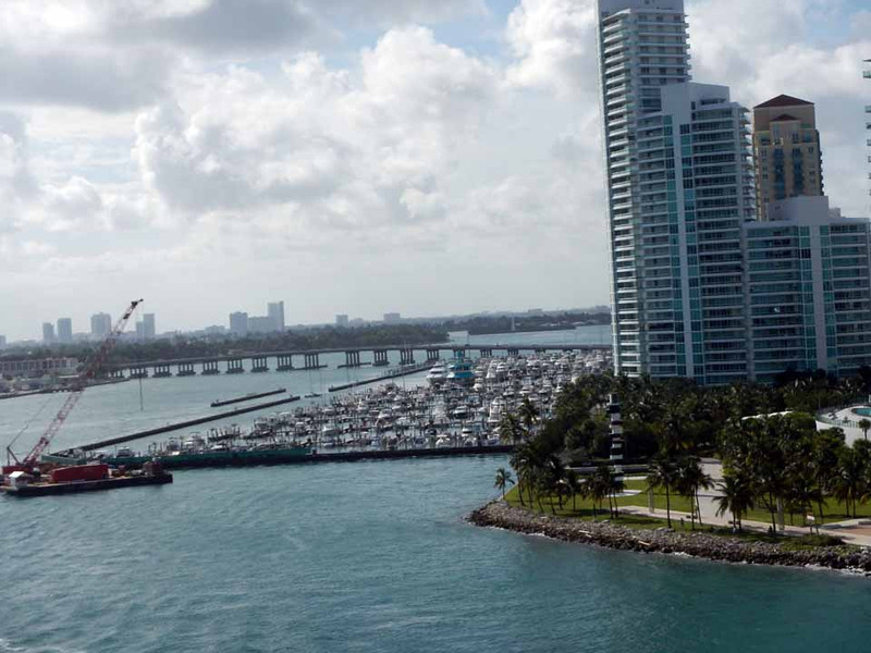 Leaving the Port of Miami, downtown in the background.