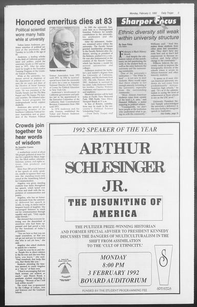 Daily Trojan, Vol. 117, No. 13, February 03, 1992