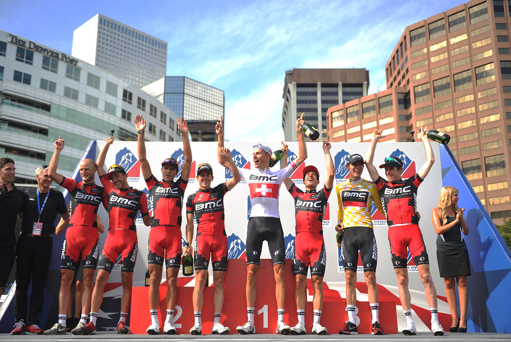. The BMC racing team and Tejay Van Garderen, 2nd from right, celebrate winning the 2013 USA Pro Challenge race as team in Denver, Colorado on August 25, 2013. (Photo by Hyoung Chang/The Denver Post)