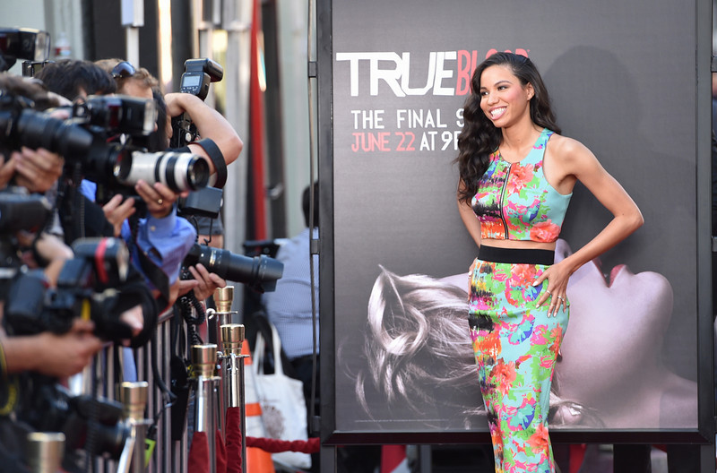 """. Jurnee Smollett-Bell arrives at the Los Angeles premiere of the 7th and final season of \""""True Blood\"""" at the TCL Chinese Theatre on Tuesday, June 17, 2014. (Photo by John Shearer/Invision/AP)"""