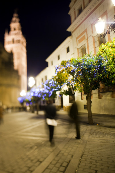 The Giralda tower by night in Christmas time, Seville, Spain. Tilted lens used for shallower depth of field.