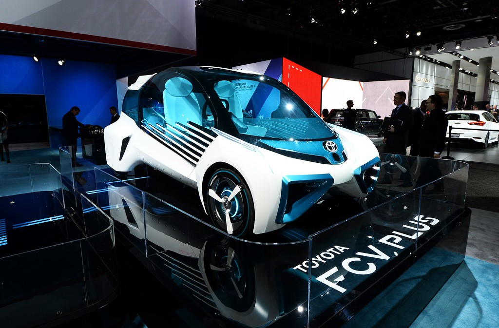 . The Toyota FCV Plus is pictured during the press preview of the 2016 North American International Auto Show in Detroit, Michigan, on January 12, 2016. AFP PHOTO/JEWEL SAMAD/AFP/Getty Images