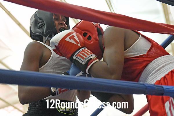 Bout #6:  Ju-Ju Overstreet, Red Gloves   vs   A'Kim Robinson, Blue Gloves  -  110 Lbs.