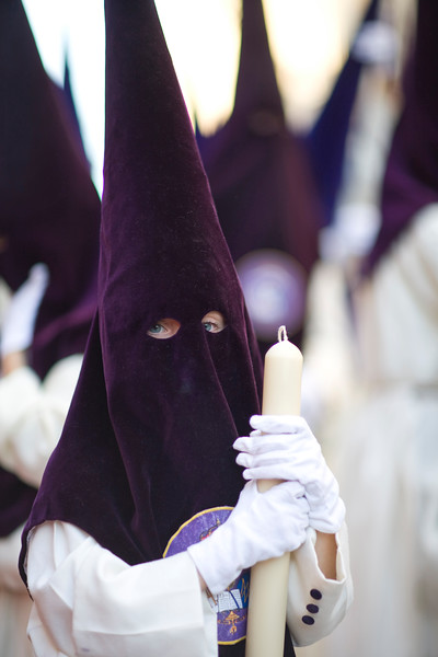 Hooded penitents bearing candles, Holy Week 2008, Seville, Spain
