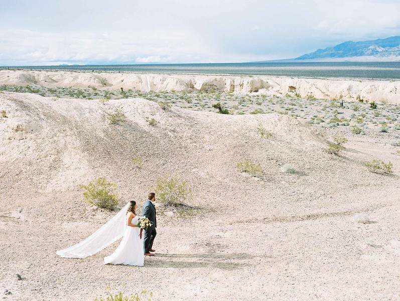 bridal gown with long cathedral veil by Robert Bullock // Las Vegas desert elopement // Las Vegas Elopement  & Intimate Wedding Photographer - Kristen Krehbiel - Kristen Kay Photography