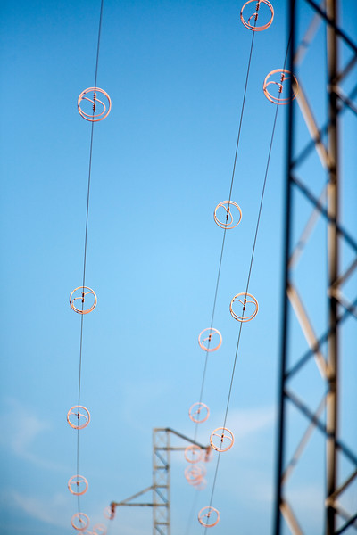 Power lines, town of Sanlucar de Barrameda, province of Cadiz, Andalusia, Spain.