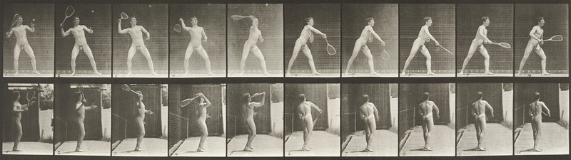 Nude man playing lawn tennis, serving (Animal Locomotion, 1887, plate 294)