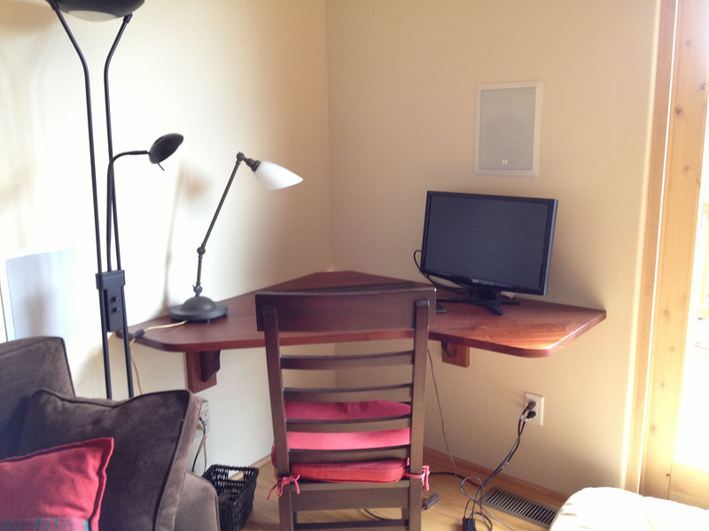 this is the sapele desk that replaced the other desk, custom made by Dave Schiller
