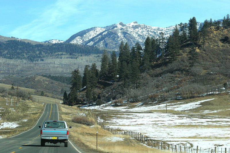 The drive to Durango.  It took about two hours.  The scenery was great.  You kind of want to own a ranch out here.  Rich is driving the truck.