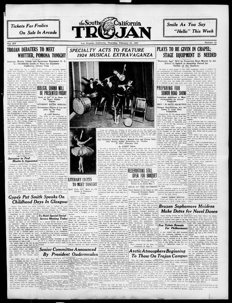 The Southern California Trojan, Vol. 15, No. 53, February 21, 1924
