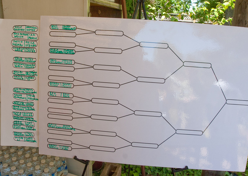 The Official DAASV Pong Bracket Board.  Our young alumni take pong very seriously!