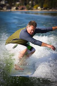 Surfing behind the Boat, Liberty Lake, Washington