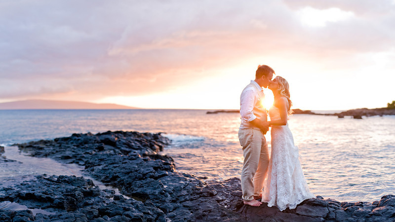 Sunset Bride and Groom Portraits in Makena, Maui, Hawaii