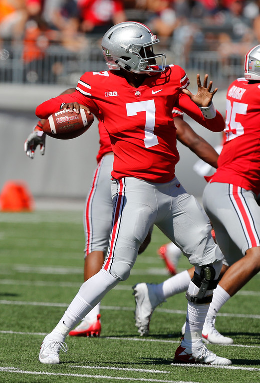 . Ohio State quarterback Dwayne Haskins throws a pass against UNLV during the first half of an NCAA college football game Saturday, Sept. 23, 2017, in Columbus, Ohio. (AP Photo/Jay LaPrete)