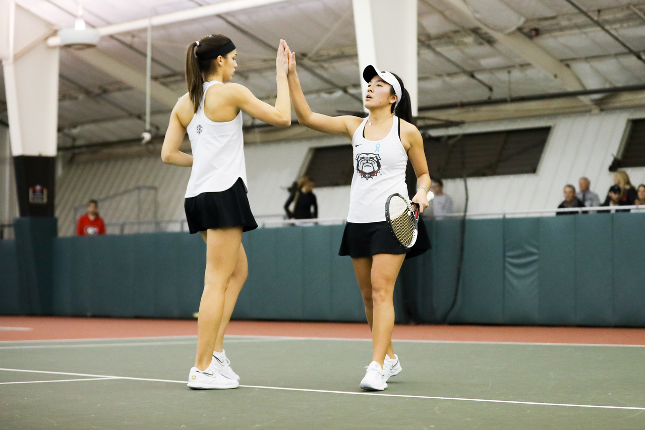 Georgia tennis players Marta Gonzalez & Elena Christofi | ITA Kick-Off Weekend | Lindsey Hopkins Indoor Center in Athens, GA | Saturday, January 25, 2020 | (Photo by Tony Walsh)