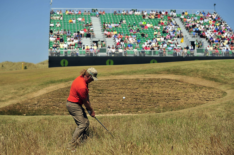 . Spain\'s  Miguel Angel Jimenez chips onto fourth green during the second round of the 2013 British Open Golf Championship at Muirfield golf course at Gullane in Scotland on July 19, 2013 .  GLYN KIRK/AFP/Getty Images