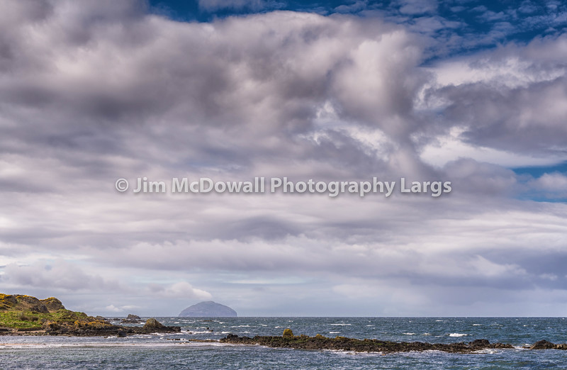 Maidens Harbour & Bay Near Girvan and Ailsa Craig in the distance Scotland