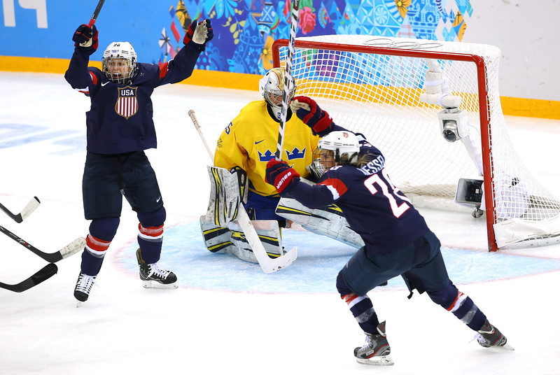 . SOCHI, RUSSIA - FEBRUARY 17: Kendall Coyne #26 and Amanda Kessel #28 of the United States celebrate a goal against Valentina Lizana Wallner #35 of Sweden in the first period during the Women\'s Ice Hockey Playoffs Semifinal game on day ten of the Sochi 2014 Winter Olympics at Shayba Arena on February 17, 2014 in Sochi, Russia.  (Photo by Doug Pensinger/Getty Images)