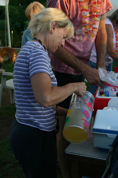 Tracey pours the Margaritas.