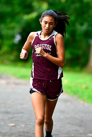9/19/2018 Mike Orazzi | Staff Central's Isabella Crandall during Wednesday's girls cross country meet between Bristol Central, Platt and Plainville at Rockwell Park in Bristol on Wednesday.