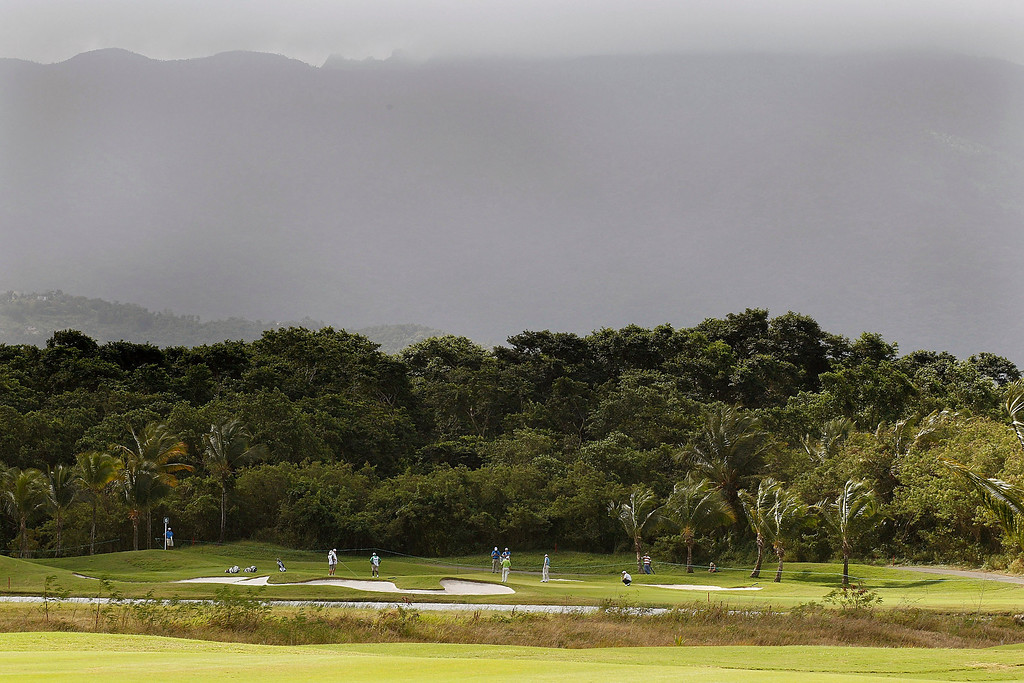 . A general view of the sixth hole with the El Yunque National Rain Forest beyond during the first round of the Puerto Rico Open presented by seepuertorico.com held at Trump International Golf Club on March 8, 2012 in Rio Grande, Puerto Rico.  (Photo by Michael Cohen/Getty Images)