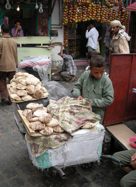 boy selling bread in old Sana'a