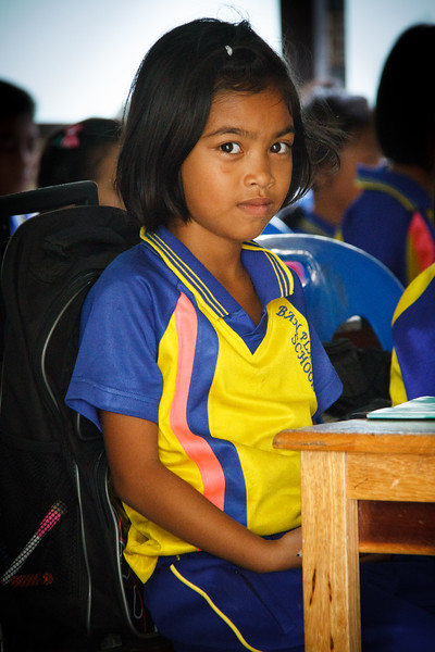 Portrait of a little girl shot at Ban Plai Laem School.