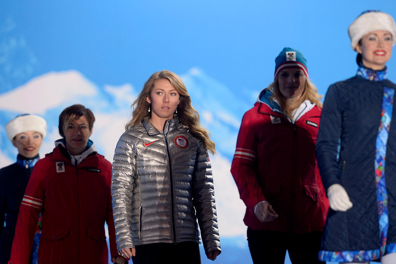 . American Mikaela Shiffrin walks onto the stage to receive her gold medal during the ladies\' slalom medals ceremony. Sochi 2014 Winter Olympics on Friday, February 22, 2014 at Sochi Olympic Park. (Photo by AAron Ontiveroz/ The Denver Post)