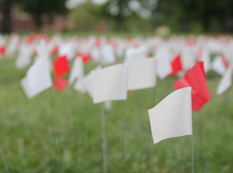 1,080 flags were put out around the flag pole to represent the statistic that 1,080 children are trafficked over an eight hour period.