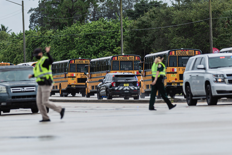 Palm Beach County School buses head to Discovery Key Elementary School in Lake Worth to move students and faculty to Polo Park Middle School in Wellington, after a gas line explosion at Lake Worth Road closed sections of Lake Worth Road and the turnpike, Thursday, September 24, 2020. [JOSEPH FORZANO/palmbeachpost.com]