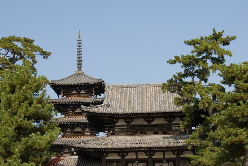 Rooftop and tower at Horyuji Temple in Horyuji, Japan
