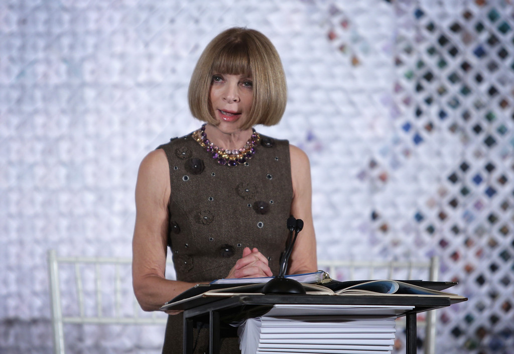 . Anna Wintour, Editor-in-Chief of Vogue magazine, speaks during a session of a Fashion Education Workshop, hosted by first lady Michelle Obama, in the East Room of the White House October 8, 2014 in Washington, DC.  (Photo by Alex Wong/Getty Images)