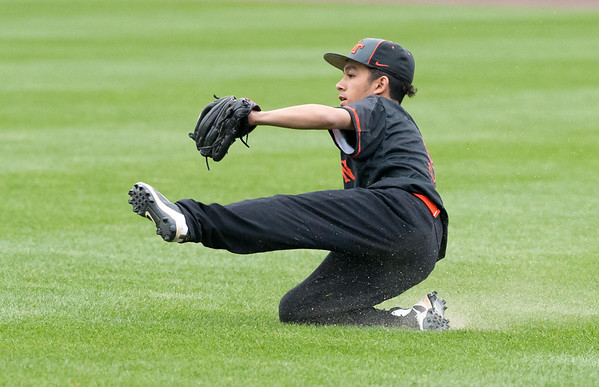 05/01/19 Wesley Bunnell | Staff Goodwin Tech baseball was defeated by Prince Tech on Wednesday evening at Dunkin Donuts Park in Hartford. Centerfielder Dibrayan Cortez (9) makes a sliding catch coming in on the ball in shallow center.