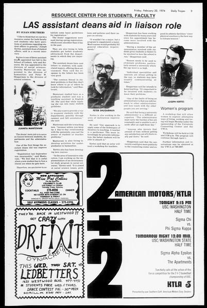 Daily Trojan, Vol. 66, No. 76, February 22, 1974