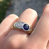 1.55ctw Old Mine Cut and Sapphire Gypsy Ring, GIA 11