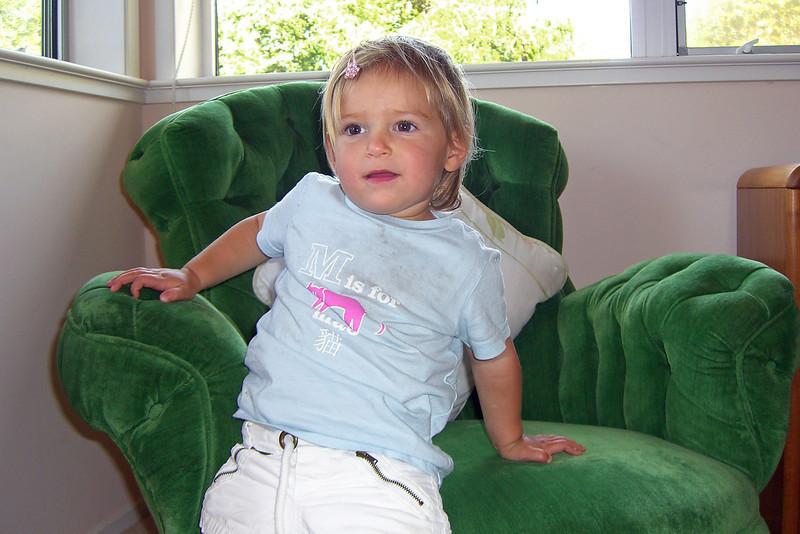 In Grandbubbie Dorothy's chair