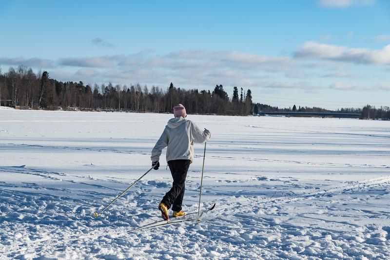 Skier on Oulujoki