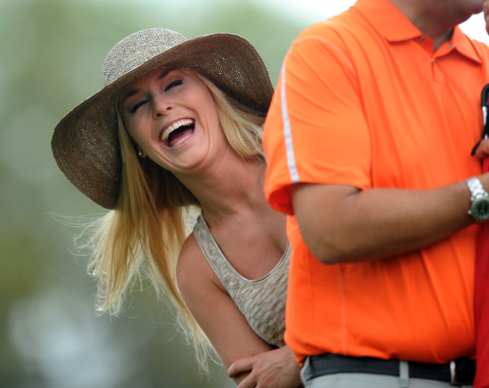 . US Olympic skier Lindsey Vonn watches Tiger Woods of the US during the first round of the 77th Masters golf tournament at Augusta National Golf Club on April 11, 2013 in Augusta, Georgia.    JIM WATSON/AFP/Getty Images