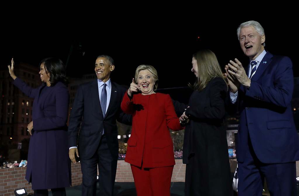 . PHILADELPHIA, PA - NOVEMBER 07:  (L-R) U.S. First Lady Michelle Obama, U.S. President Barack Obama, Democratic presidential nominee former Secretary of State Hillary Clinton, Chelsea Clinton and former U.S. President Bill Clinton greet supporters during a campaign rally on Independence Mall on November 7, 2016 in Philadelphia Pennsylvania. With one day to go until election day, Hillary Clinton is campaigning in Pennsylvania, Michigan and North Carolina.  (Photo by Justin Sullivan/Getty Images)