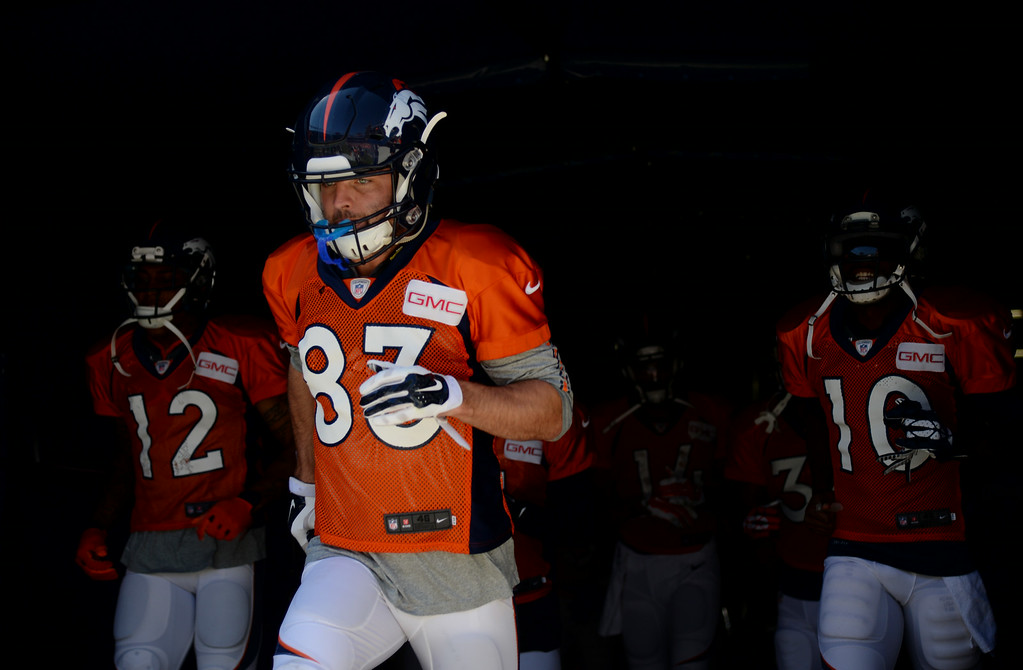 . Wes Welker of Denver Broncos (83) is in the Sports Authority Field at Mile High for the scrimmage. Denver, Colorado. August 02. 2014. (Photo by Hyoung Chang/The Denver Post)