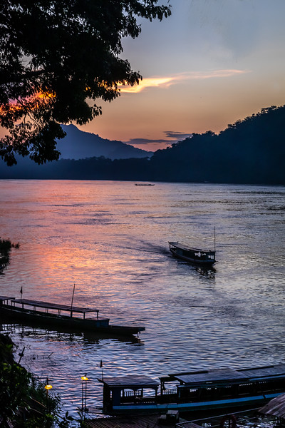 The Mekong River at sunset.
